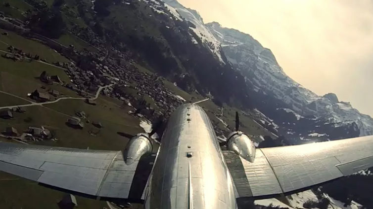 DC-3 Flying in Switzerland